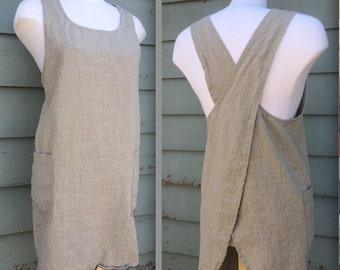 Natural Linen Japanese Apron / Pinafore / Cross Back Apron