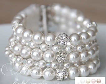 Bridal Bracelet, White Pearl Bridal Bracelet, Pearls, Wedding Bracelet, Wedding Jewelry, For Bride, Bridal Jewelry, Cuff Bracelet, art. b16