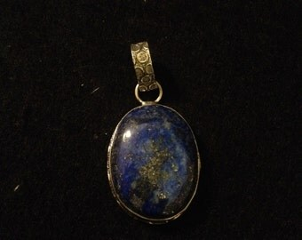Vintage Sterling Silver & Lapis Lazuli with Pyrite Flecks Necklace Pendant
