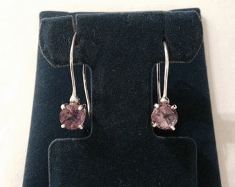 Vintage Genuine Light Amethyst Gemstone Sterling Silver Drop Earrings