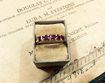 Vintage SCBS 14K Yellow Gold and Ruby Ring - Size 8