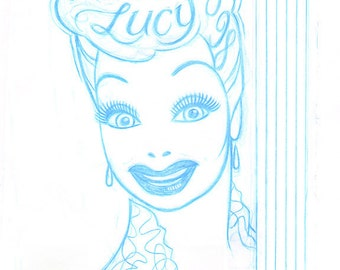 1998 LUCY CONVENTION original blue sketch by Dave Woodman