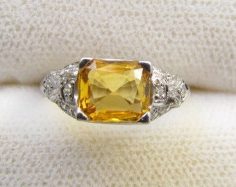 Vintage Platinum Rectangular Cut Yellow Sapphire 2 Carats ( 7 x 6 x 3 mm ) & Accented by 12 Single Cut Diamonds, Ring.