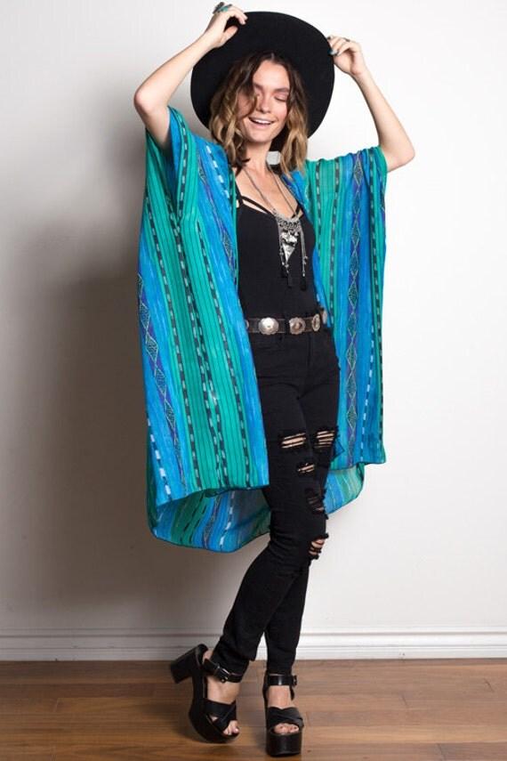 Boho Kimono | Blue Aztec