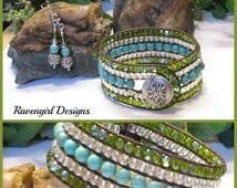 5 Row Leather Wrap Cuff Bracelet, Turquoise Blue Green Stone Czech, Boho Vintage Style Unique Handmade Jewelry CARIBBEAN by Ravengirl Design
