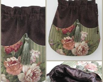 PLUM ROSE Vintage Boho Style Chenille Drawstring Bag, Velour Bag, Bohemian Bag, Gypsy Bag, Crossbody Bag, Victorian Bag, Ravengirl Design