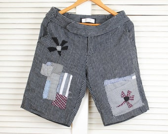 Long Gray Linen Shorts Patched Striped Shorts Embellished Shorts Refashioned Shorts Upcycled Trendy Shorts Hipster Shorts Distressed Shorts