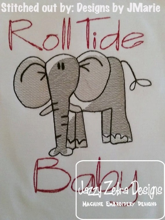 Elephant Sketch Embroidery Design - safari Sketch Embroidery Design - zoo Sketch Embroidery Design - circus Sketch Embroidery Design