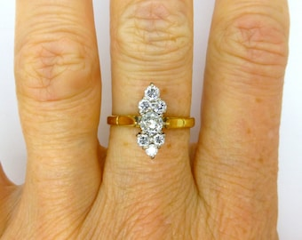 Unique Vintage Diamond cluster ring Marquise/Navette shape 18ct-18K gold 1980s English Estate Anniversary or left hand dinner ring