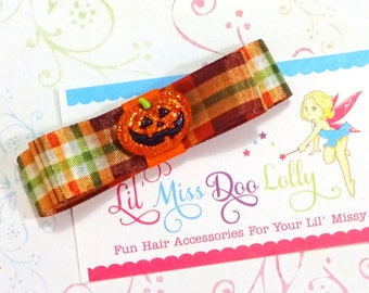 Jumbo Tuxedo Bow Hair Clippie-Tuxedo Bow Hair Accessory- Tuxedo Hair Clip-  Barrette-Shades of Autumn (Set of 1)