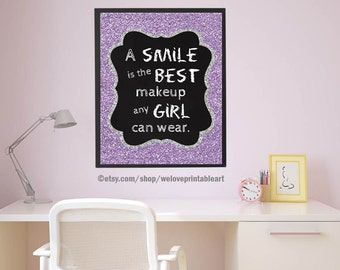 Girls Room Art, Girls Room Decor, Art for Girls Room, Girls Wall Art,Teen Girl Room Decor, Smile Teen Quote, Teen Room Gift Ideas