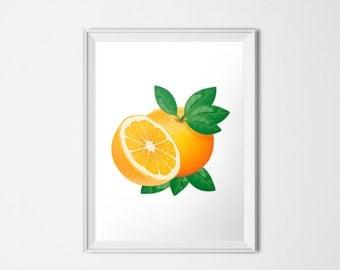 Oranges Print, Fruit Print, INSTANT DOWNLOAD, Printable Art, Home Decor, Kitchen Decor, Kitchen Art, Citrus Printable, Food Art Print, Leaf