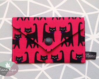 Purse / Business card holder / Credit card holder: fuchsia cotton fabric with black cats