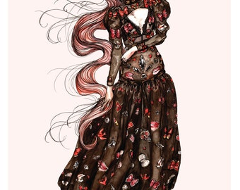 Alexander McQueen AW16 'Vanity Obsessions' No.1 Fashion Illustration Wall Art Print