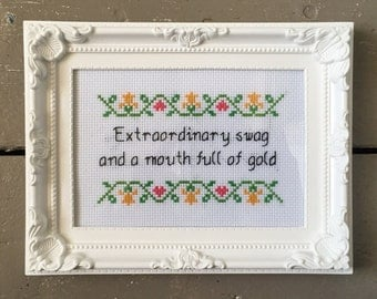 Extraordinary swag and a mouth full of gold - Goldie - ASAP Rocky -funny rude rap lyrics cross stitch print framed gift