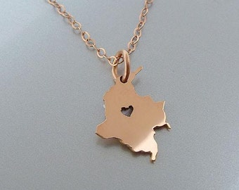 Tiny 14K Rose Gold Filled Colombia Necklace - Colombia Charm - Custom Heart - Colombia Map Necklace - Love Colombia