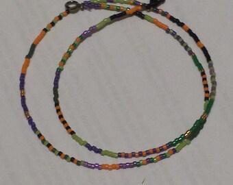 Eclectic Halloween miyuki 11/0 seed bead necklace