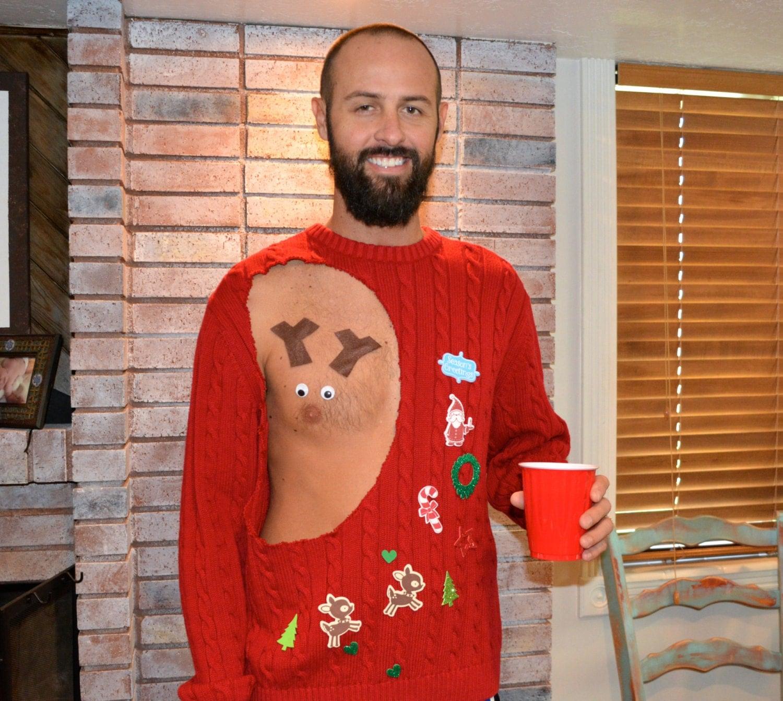 Mens Ugly Christmas Sweater Pastie Rudolf Sexy Reindeer