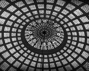 Architecture Photography, Black and White, Abstract Wall Art, Chicago Print, Fine Art Photography, Circles, Modern Wall Art