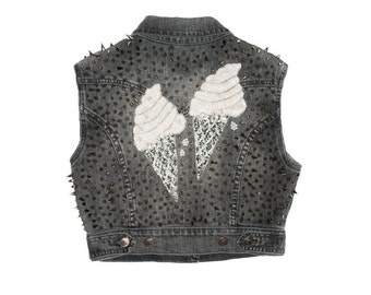 Grey Cropped and Silver Spiked Denim Vest with Ice Cream Sequin Applique