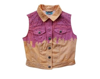 Sprinkle Pink and Orange Melted Ice Cream Donut Vest