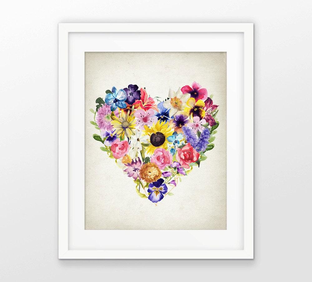 Wall Art Heart Picture : Watercolor flower love heart wall art print botanical