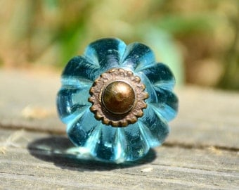Blue glass knob/blue cabinet knob/blue drawer pull/glass drawer knob/round cabinet knob/antique brass knob/vintage knob/antique knob