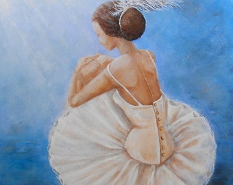 Original 16x20 ballerina painting on canvas, ballet wall artwork, sitting ballerina, Original painting by Nancy Quiaoit at NancyQart
