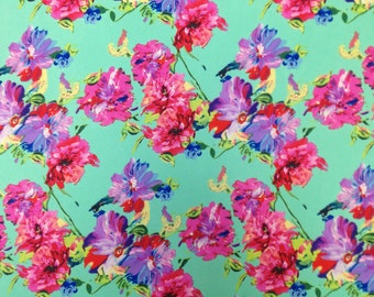 Floral Diagonal Vines Print on Non-Stretch See Through Polyester Chiffon Fabric - 58 to 60 Inches Wide - By the Yard or Bulk