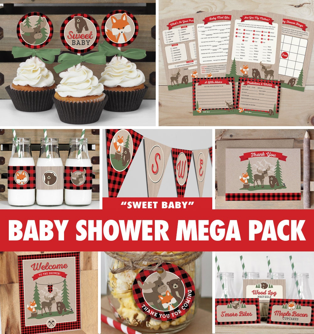 Baby shower mega pack buffalo plaid by theprettypaperstudio for Baby shower decoration packs
