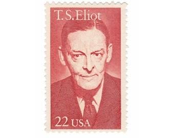 10 Unused Vintage US Postage Stamps - 1986 22c T.S. Elliot - Vintage Postage Shop - No. 2239