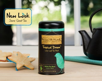 Organic white tea blend, TROPICAL DREAM, loose leaf, pineapple, organic coconut, hibiscus tea, caffeinated