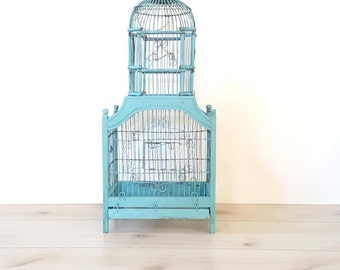 Vintage Birdcage ~ Wood And Wire ~ Distressed Turquoise ~ Home/ Nursery/ Wedding / Garden Decor