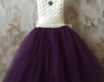 Eggplant and ivory flower girl tutu dress, crochet tutu dress, toddler tutu dress, purple tutu
