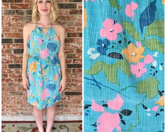 1960s Blue Tropical Floral Halter Dress