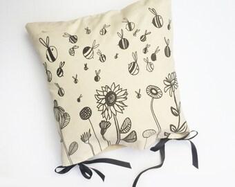Handmade Screen Printed Bee Cushion