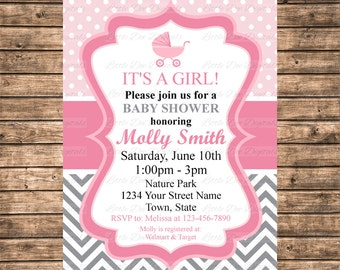Personalized Pink Polka Dot and Gray Chevron Baby Carriage Baby Shower Invitation - Printable Digital File