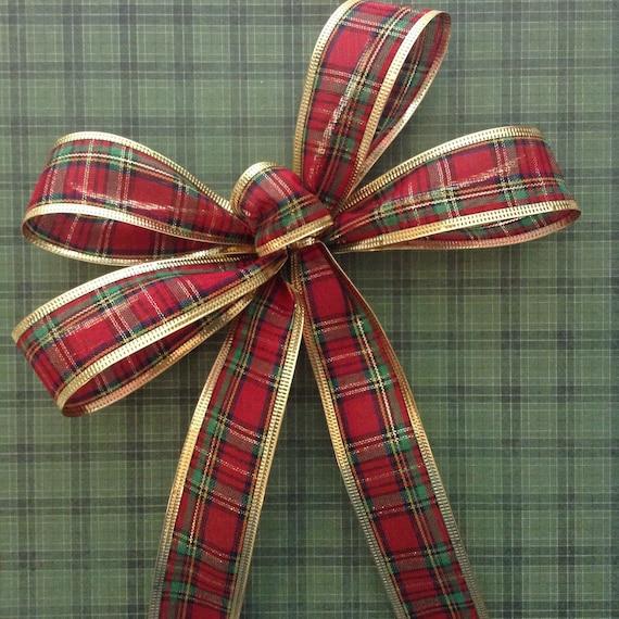 christmas plaid bow set of 8 xmas plaid decorative bows. Black Bedroom Furniture Sets. Home Design Ideas