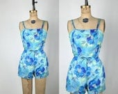 1950s-60s. blue floral. Saks Fifth Avenue. playsuit.extra small-small