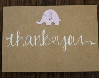 Elephant baby thank you cards- Kraft Thank You Cards - Baby Cards - Baby  #2035Shower Cards  - Baby Thank You Cards