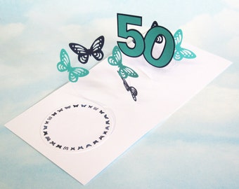 50th Birthday Card Butterfly Spiral Pop Up - Blue and Green Butterfly 3D Card – 50th Birthday Spiral Pop Up Card