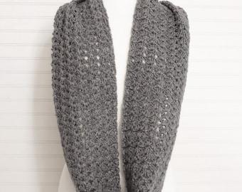 Dark Gray Crochet Infinity Scarf
