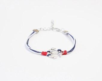 Anchor Navy Blue White Red Cord Bracelet