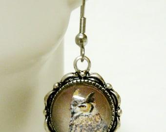 Horned owl earrings - BAP07-021