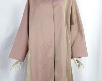80s GIORGIO ARMANI Le C0LLEZI0NI iridescent  pinkish tan minimalist trench coat: sz US woman 10 / IT46