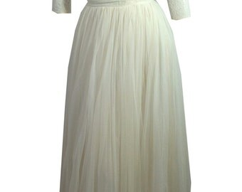vintage 1950s White Chiffon Evening Gown w/ Lace Popover and Rhinestones XS