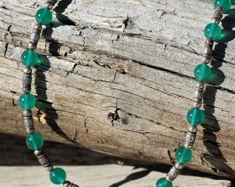 Green Agate and Hill Tribe Silver Bead Necklace