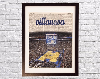 Villanova Dictionary Art Print - Wells Fargo Center - Print on Vintage Dictionary - College Basketball - Gift For Him - Philadelphia