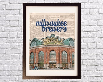Milwaukee Brewers Dictionary Art Print - Miller Park - Print on Vintage Dictionary Paper - Baseball Art - Gift For Him - Wisconsin