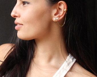 Double Stud Ear Cuff Earrings, Double piercing, double studs